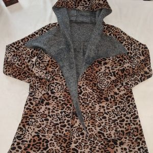 Max Mara Wool Leopard Print Hooded Wrap Sweater S